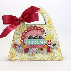 """Purse shaped Mini Album by Shellye McDaniel featuring the """"Petticoats"""" collection by #EchoParkPaper"""