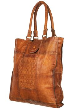 Topshop Leather Woven Panel Tote Bag in Brown (tan)