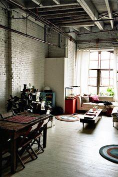 loft living room | freunde von freunden // like all of this. Except the terrarium fish tank. Ish.