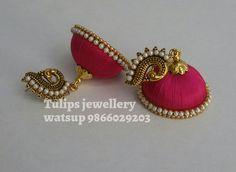 Silk Thread Jumkas, Silk Thread Earrings, Thread Jewellery, Thread Art, Silk Bangles, Saree Hairstyles, Beaded Necklace Patterns, Ganesha, Jute