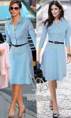 Lady dress in a gorgeous dress with vintage polka dot design, lady dress, hand … - New Dress Pretty Outfits, Pretty Dresses, Blue Dresses, Casual Dresses, Short Dresses, Modest Fashion, Fashion Dresses, Marine Uniform, Winter Dresses
