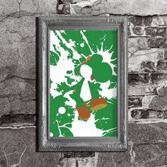 Yoshi Splatter - Mario Brothers Inspired - Video Game Art Poster for $11.95+