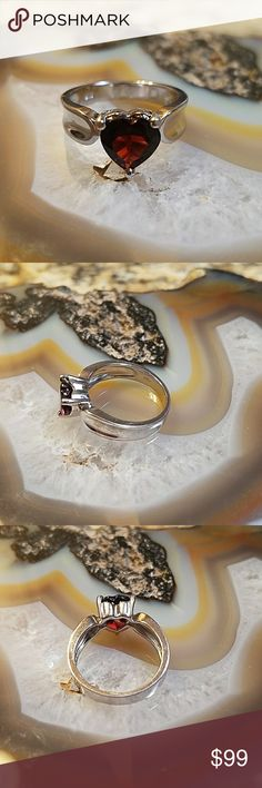 Garnet ring, 18wgp/Sterling ring 18k white gold plated over sterling garnet ring,  size 7  ~~weight 4.4 grams  ~~2.5 carats genuine garnet  ~~beautiful,  well made  ~~stamp .925 5th pic  ~~boutique item, comes in plain box  Offers welcome  ♡♡Or add to a bundle for a private no obligation offer from me via dressing room  ☆Non smokers tho we do have pets so a stray hair might transfer. Items are stored away from pets. Jewelry Rings