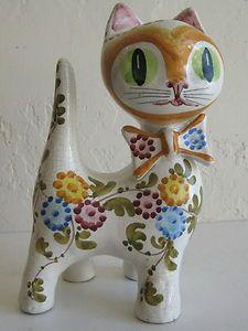 Vintage Bitossi Mid Century Modern Italian Art Pottery Cat Figurine Gambone Era | listed on eBay by two-cool-dudes