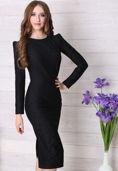 5bc41b4ebe6e Sophisticated modest black midi dress coming soon to Mode-sty  nolayering   sleevesplease Modest