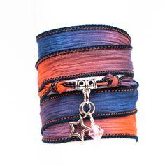 SILK wrap BRACELET, silk ribbon bracelet, hand dyed, with Tibetan Silver Hollow Mini Star Charm Pendant and SWAROVSKI crystal