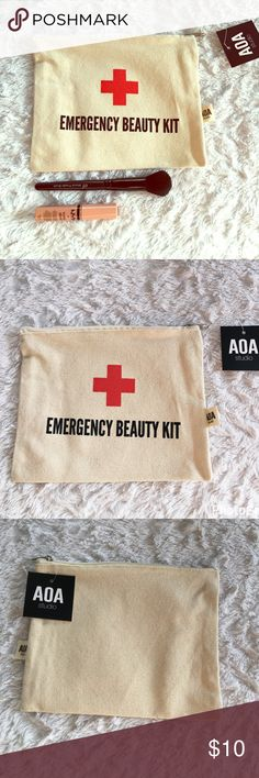 Emergency Makeup Pouch  Keep your brow game on fleek with this Canvass Makeup Pouch! Big enough to fit all your must haves • Small enough to travel wherever you go  AOA Makeup Brushes & Tools
