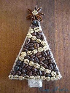 Кофейные магниты-ёлочки на холодильник
