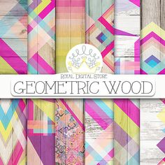 Wood digital paper: GEOMETRIC WOOD with wood #wood #digitalpaper #tribal #watercolor #rainbow #textures #scrapbooking #crafts