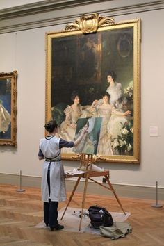 artistandstudio:  Artist Maud Taber-Thomas at the MET copying Sargent's The Wyndham Sisters photo by Xueli Zheng