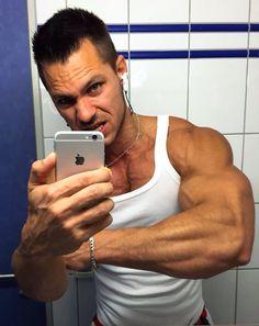 Alon Gabbay-mirror selfie in Wifebeater