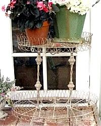 French Wire Flea Market Plant Stand-French Wire Flea Market Plant Stand Vintage Paris Buttermilk cream white shabby chic