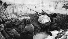 Soviet soldiers in the trenches in the Kharkov region in anticipation of attack. Voronezh Front.