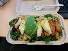 Sonny Bowl - Kale tossed in tahini dressing. Topped with quinoa, chickpeas, artichoke hearts, and smoky tempeh.