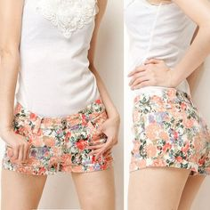 New Fashion Ladys Floral Printing Casual Jeans Short Trousers Pants Hot Shorts 4Colors