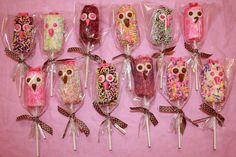 Owl Party | Owl Chocolate Covered Marshmallow Pops | Owl Theme Baby Shower | Owl Birthday Party | Cute Owl Party Treats