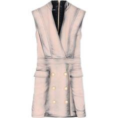 Balmain Short Dress (1,979,940 KRW) ❤ liked on Polyvore featuring dresses, pastel pink, mini dress, short pink dress, no sleeve dress, pink dress and short sleeveless dress