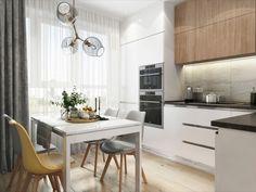 кухня в современном стиле, дизайн кухни, белая кухня с деревом Kitchen Design, Interior, Table, House, Furniture, Home Decor, Kitchens, Cuisine Design, Indoor