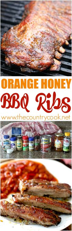 Orange Honey BBQ Ribs recipe at The Country Cook - the rub and glaze for these work SO well together. Amazing! I don't think I have ever made ribs this good before! Paired with BUSH'S Beans and this is the best meal ever! #bushsbeans #ad