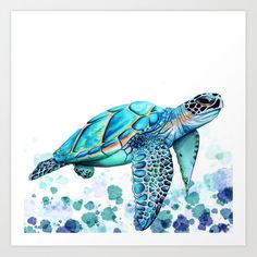Turtle Art Print by Ismay Verbeek - X-Small Watercolor Paintings Of Animals, Watercolor Paintings For Beginners, Animal Paintings, Sea Turtle Quilts, Sea Turtle Art, Sea Turtle Wallpaper, Turtle Images, Coral Art, Turtle Painting
