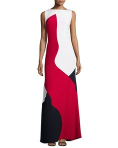 Tri Color Block Slvls Gown, Red Multi - Theia