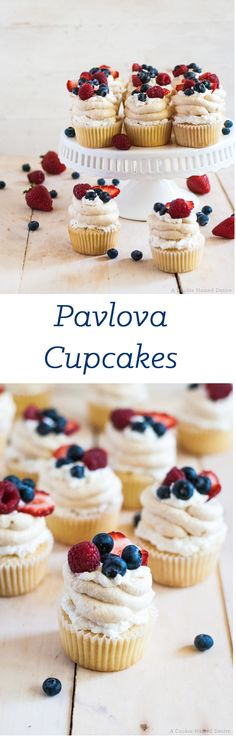 Mixed berry pavlova cupcakes recipe with a fresh decoration of seasonal fruit - perfect 4th of July recipe.