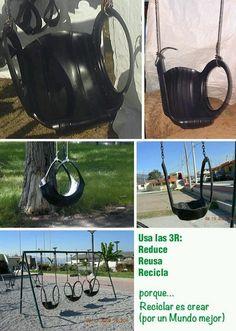 Columpios de neumáticos . Tomado de: Reciclar es crear