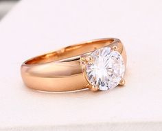$25CND Classic Rose Gold Solitaire Diamond Ring (size 6,7) #rosegold #diamond #solitaire #ring #jewelry #jewellery #etsy