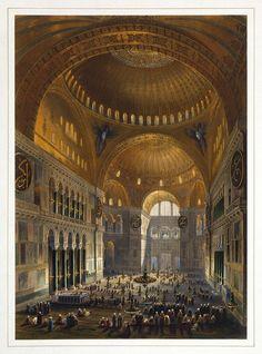Gaspare Fossati - Louis Haghe - Vue générale de la grande nef, en regardant l'occident (Hagia Sophia - Ayasofya Mosque nave) - Fossati brothers - Wikipedia, the free encyclopedia