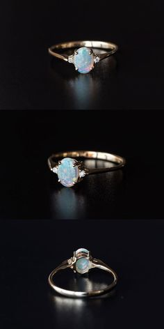Classic Three Stone Oval Australian Solid Opal Diamond Engagement Ring 14K Gold in Vivid Rainbow Colors. Size 6.25. Free Gift Bag/Box with every order! Every Opal piece is Unique. You won't find two exactly identical opal gems because of their unrepeatable play-of-color. | eBay!