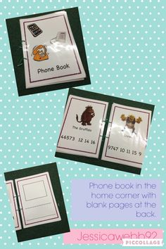 Phone book in the home corner. popular characters and blank pages at the back for children to fill in. 3 Year Old Activities, Montessori Activities, Preschool Centers, Preschool Learning, Teaching, Home Corner Ideas Early Years, Kids Kitchen Accessories, Maths Eyfs, Early Years Maths