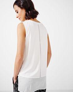 Sleeveless T-Shirt Blouse with Underlayer