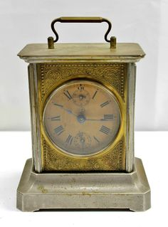 Antique Carriage Clock *FOR REPAIR* Maybe German Painted Paper Clock Face