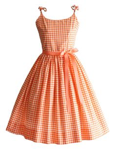 Vintage 1950s Dress in orange and white gingham, edited by franceseattle, sold by TuesdayRoseVintage