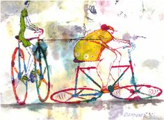 Cover Award Euro-Kartoenale 2013 'The Bicycle' for Angelo Campaner Win Prizes, Euro, Cartoons, Bicycle, Cover, Painting, Bicycle Kick, Animated Cartoon Movies, Painting Art