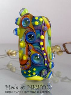Ocean Beauty  Abstract Art Glass Bead by Michou P. by michoudesign, $79.00