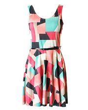 Harlequin Print Skater Dress