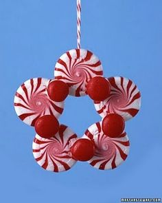Peppermint ornaments/kids Christmas craft--you could also use green peppermints (spearmints) and red hots.