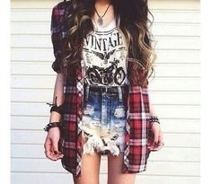 Flannel top & high-waisted shorts