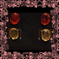 Red - Yellow - Oval - Rhinestone - Stud - Earrings - Girls by YouveGotSparkle on Etsy