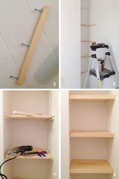{ DIY } how to build simple floating shelves (replace the corner squished-in she. - { DIY } how to build simple floating shelves (replace the corner squished-in shelving unit with cus - Custom Floating Shelves, Floating Shelves Bathroom, Glass Shelves, Diy Built In Shelves, Build Shelves, Plywood Shelves, Diy Bathroom Shelving, Building Shelves In Closet, Floating Storage Shelves