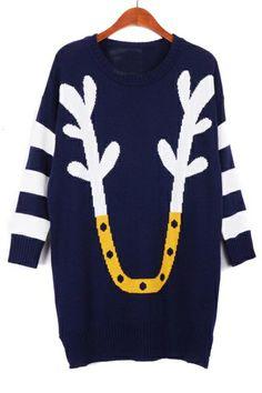 Color Block Antler Sweater OASAP.com
