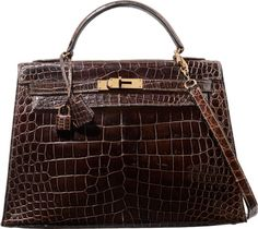 Hermes 32cm Shiny Marron Fonce Caiman Crocodile Sellier Kelly Bagwith Gold Hardware. L Circle, 1982. Very GoodCondit...
