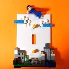 LEGO Superman Little Boys' Bedroom Super Hero Light Switch Plate, $48 via 'ValGlaser' on Etsy