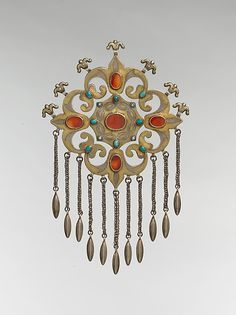 Floral Pectoral Ornament Late century Geography: Central Asia or Iran, Textile Jewelry, Tribal Jewelry, Jewelry Art, Silver Jewelry, Jewelry Design, Jewellery, Bohemian Jewelry, Ancient Jewelry, Antique Jewelry