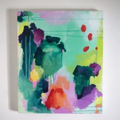 original abstract painting / watercolor print / splatter style / on stretched canvas / red green teal aqua pink purple and yellow available here http://great.ly/t/tramake/products/3801