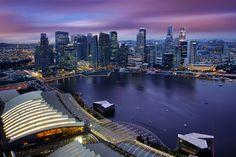 Aerial View of Singapore CBD Skyline Marina Bay Esplanade and Raffles Place Singapore by :: Artie | Photography ::