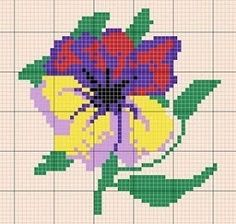 Flower pattern / chart for cross stitch, crochet, knitting, knotting, beading, weaving, pixel art, and other crafting projects.