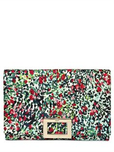 ROGER VIVIER - FLORAL PRINTED TWILL SILK CLUTCH - LUISAVIAROMA - LUXURY SHOPPING WORLDWIDE SHIPPING - FLORENCE