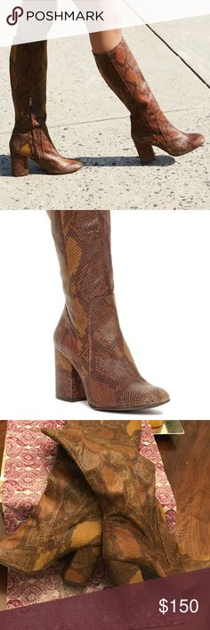 """Free People snake high ground boots Tall boot with a fierce snakeskin print. Features a chunky block heel for a comfortable step. Side zipper closure for an easy on-off and a padded footbed for support.  FP Collection  Modern and sartorial styles, artisan crafted from fine leathers and premium materials, FP Collection shoes are coveted for their signature cutting-edge aesthetic.  size up. Generous fit in the leg. Leather Sizing Tip: This style runs true to size. If betwe Import Shaft: 20""""…"""